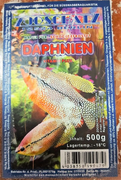 Daphnien/ Wasserflöhe - Flachtafel 500g das Frostfutter für kleine Zierfische und Bärblinge
