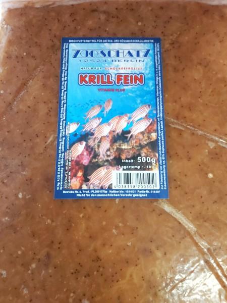 Krill fein in der 500g Frostfutter Tafel für Zierfische im Meerwasser und Süßwasser