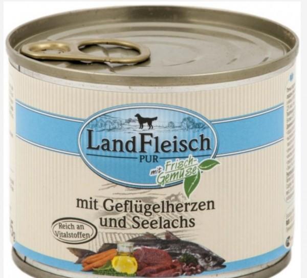 Landfleisch Dog -Geflügelherzen & seelachst 195g das gesunde Hunde Nassfutter für Hunde mit Geschmack und gesunde Hundeernährung