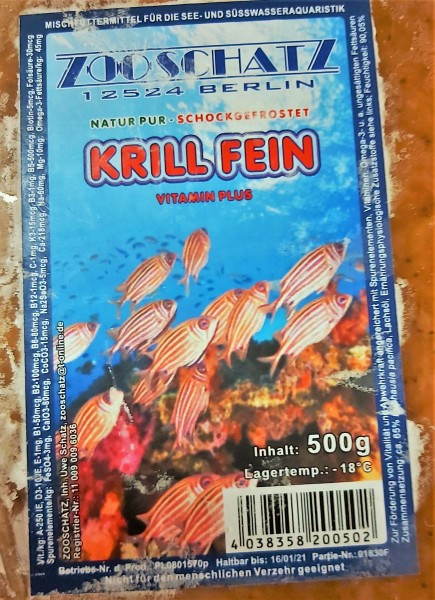 Krill fein -Flachtafel 500g das optimale Frostfutter für Zierfische und Garnelen für Laichansatz und Zucht
